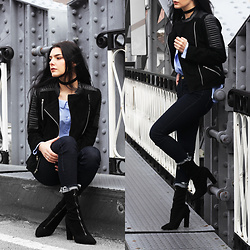 CLAUDIA Holynights - Leather Skin Suede Jacket, Sheinside Blue Shirt, Solewish Suede Boots - There is nothing blacker than black suede