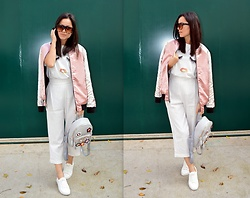 Marija M. - Stradivarius Pink Bomber Jacket, Newdress T Shirt, Zaful Backpack With Flowers, Zaful Sunglasses, New Yorker White Sneakers - Pink bomber jacket and Zaful statement pieces