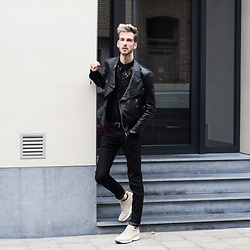 Martin Bonke - Zumo Fashion Leather Biker Jacket, Asos Black Lace Shirt, Uniqlo Black Skinny Fit Jeans, Guidomaggi Sneakers - Black Lace. OOTD - FCKHIM.com