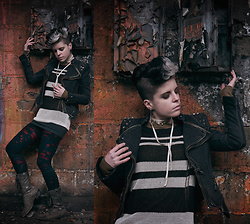 Carolyn W - Lookbook Store Denim, Ann Taylor Striped, Forever 21 Grey, Punkrave Ripped, Steve Madden Grey - Decay