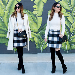 Jenn Lake - Asos Two In One Sweater Dress, Stuart Weitzman Highland Over The Knee Boots, Nordstrom Ivory Coat, Chanel Medium Boy Bag, Quay Sugar And Spice Sunglasses - Two in One Sweater Dress