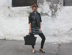 Jelena - Mango Leather Jacket, Terranova Stripped Top, Zac Posen Leather Bag, Michael Kors Flats, Ray Ban Wayfarer Sunglasses, Asos Choker Necklace - Flats and stripes