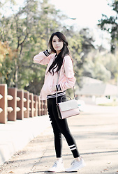 Elizabeth T - Adidas Nmd Runners, Zaful Pink Bomber Jacket, H&M Jersey Leggings, Forever 21 Ribbed Crop Top - Modern Retro in a Pink Bomber Jacket