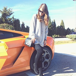 Andrea Ávila - Pull & Bear Grey Oversize Sweater, Bershka Choker, Marypaz Over The Knee Boots, Parfois Bag - You got a fast car