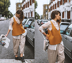 Denisia A. - Topshop Unique Wool Vest, Maysson Silk Shirt, Designers Remix High Waisted Trousers, Rocket Dog Oxford Shoes - Autumn uniform
