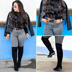 Chiara Culture With Coco - Asos Silver Mirror Sunglasses, Candy Gal Black Crop Top, Kiomi Zara Leather Jacket, Michael Kors Bag, About You Grey High Waist Skinny Jeans, Bufallo Flat Over The Knee Boots - Falling For Fall