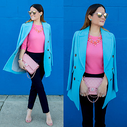 Jenn Lake - J. Crew Blue Pea Coat, J. Crew Pink Cashmere Sweater, J. Crew Pink Floral Necklace, J. Crew Navy Skinny Ankle Pant, Chanel Pink Quilted Flap Bag, Quay Gemini Sunglasses, Steve Madden Carrson Sandals - Pink Floral Necklace