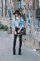 Laura Simon - Urban Outfitters Black Hat, Ray Ban Gold Round, Vero Moda Blue Stars Jacket, Forever 21 Crop Top White, Zara Black High Waist, Zara Black Patches, Jeffrey Campbell Shoes Black Spike - Stars and Patches