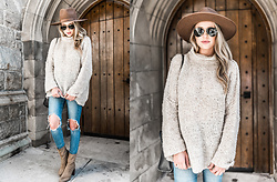 Payton Sartain - Free People Sweater, Brixton Hat, Levi's® Jeans, Vince Camuto Booties - Sweater Weather