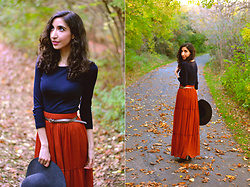 Neno Neno - Jcrew Navy Top, Orange Fall Skirt, Wool Hat - Autumn Leaves