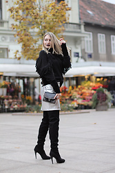 Sonja Kovac - Krie Design Sweater, River Island Silver Skirt, Le Sila Over The Knee Boots, Zara Bag - METALLIC TREND | SILVER SKIRT