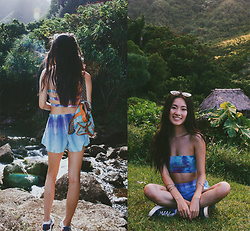 Jennifer Wang - Indigo Apparel Organic Hand Dyed Top, Indigo Apparel Organic Hand Dyed Shorts - LIMAHULI