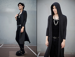 Kyris Kat - Spike Layered Necklace, Grey Long Cardigan, Demonia Clash Platform Boots, Black Tank Top - Charcoal