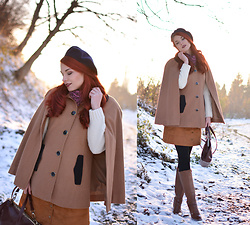 Anaivilo B - Miniprix Wool Cape, H&M Suede Skirt - The Winter Cape