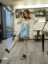 Chloe C. - Chuu Blue Pajama Set, Gap White Cardigan, Himi Fashion Sheer White Over The Knees - Pajama day