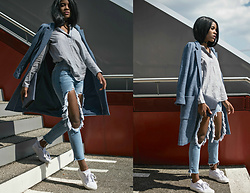 Wallace Yolicia - Elie Tahari Wool Blend One Button Coat, Steve Madden Bertie Lace Up Sneaker, Boohoo Brea Distressed Boyfriend Cheeky Rips Jeans - DARLING, BE FIERCE WITH A BRAVE SPIRIT