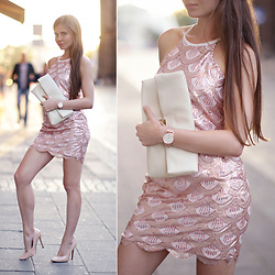 Ariadna Majewska - Lookbookstore.Co Gold Sequins Dress, Paul Hewitt Elegant Gold Wrist Watch - The Goldfish Girl