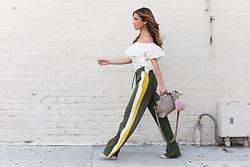 Jessi Malay - Rachel Zoe Gaia Off The Shoulder Top, Way High Rise Wide Leg Joggers, Fendi By The Way Satchel, Adornmonde Rose Gold Set - How To Style Your Joggers To Look More Feminine