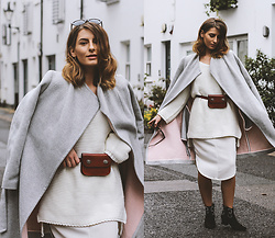 Denisia A. - Jeff Banks Grey Wrap Coat, Ganni White Skirt, Topshop Burgundy Belt Bag, Vintage White Oversized Sweater - I'm nicer when I like my outfit