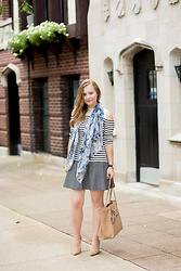 Ashley Hutchinson - Beulah London Floral Scarf, Banana Republic Tweed Skirt, Dune London Nude Suede Pumps, Gigi New York Nude Python Tote, Whistles Cut Out Breton Stripe Sweater - Florals, Stripes & Tweed