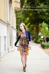 Ashley Hutchinson - Magaschoni Deer Print Dress, Leopard Booties, Chloé Gold Crossbody Drew Bag, Smythe Navy Duchess Blazer - Prints on Prints