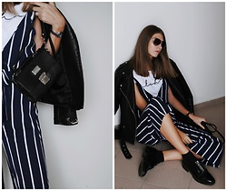 Yulia Sidorenko - Zara Shoes, Rosegal Jumpsuit, H&M Sunglasses, New Yorker Leather Jacket, Lacoste Watches - Stripe jumpsuit