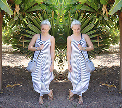 Alex MacEachern - White And Black Striped Jumpsuit, Michael Kors Silver Watch, Baia Purple Leather Messenger Bag - We Take It Day By Day