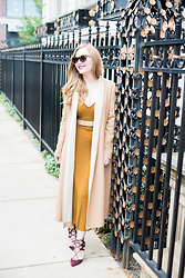 Ashley Hutchinson - Asos Two Tone Cardigan Coat, L.K. Bennett Nude Patent Belt, Zara Gold Shimmer Midi Dress, Aquazzura Burgundy Suede Lace Up Pumps - Gold & Camel