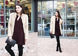 Anna B - Asos Fur Coat, Mango Dress With Flared Sleeves, Zara Suede Boots - My funny Valentine
