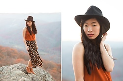 Serena J - J. Crew Black Hat, Uniqlo Orange Top, Forever 21 Floral Maxi Skirt, Madewell The Billie Boot In English Saddle - Fall in Shenandoah