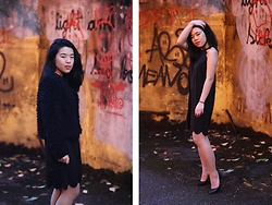 Thuy Pham - H&M Faux Fur Jacke, Stylewe Little Black Dress, Mohito Black Heels - Little black dress