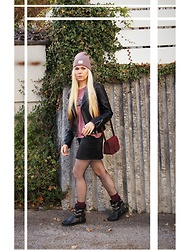 Maria R - Pimkie Hat, Bershka Black Leather Jacket, Karma Of Charme Black Shoes - A Hint of Grunge
