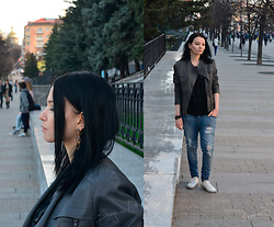 Bogena Día - Earrings, Zolla Gray Leather Jaket, Terranova Blue Ripped Jeans, Keddo White Gumshoes, Kari Black Leather Bracelet, Amisu Black T Shirt - Women Who Run With the Wolves