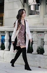 Christie Ashley - Club Monaco Blush Trench, Wilfred Silk Shirt Dress, Verge Crushed Velvet Slip Dress, Stuart Weitzman Over The Knee Boots, Forever 21 Gold Choker - CRUSHED VELVET