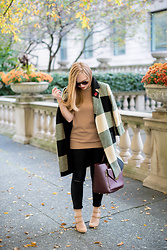 Ashley Hutchinson - Zara Check Coat, Zara Tan Tunic Sweater, Asos Black Jeans, Steve Madden Buckle Pumps, Mulberry Oxblood Leather Tote, British Legion Poppy Pin - November Plaid