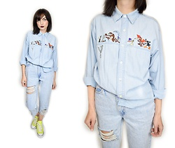 Owlephant Vintage - Looney Tunes Vintage Denim Button Up - Looney For Ya