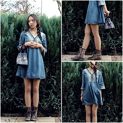 Tram Anh - Denim Textile Dress, Vietnamese Traditional Silk Pouch, Vintage Boots - ETUDE1 (zaful.com)