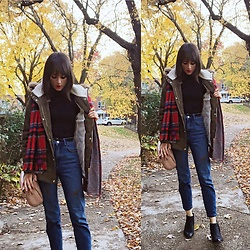 Adrianna DeVillacian - Uniqlo Turtleneck, Macy's Jacket, Phenix Plaid Scarf, Bdg Boyfriend Jeans, Sam Edelman Booties - Autumn layers