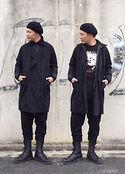 ★masaki★ - Newyork Hat Beret, Henrik Vibskov Double Trenchcoat, Ch. Woolpants, Dr. Martens Combat 10eyes - Japanese trash style 54