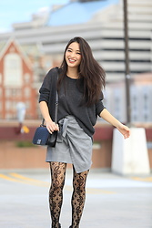 Kimberly Kong - Metisu Asymmetrical Skirt, Aeropostale Oversized Knit, Chanel Boy Bag, Apt. 9 Printed Leggings - Find of the Day:  The Asymmetrical Mini Skirt