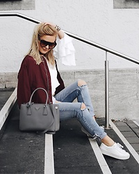 Romina M. - Prada Galleria Tote Bag, Na Kd Cherry Bomber Jacket, Na Kd Triple Layer Blouse, Celiné Celine Sunnies, Puma X Fenty Sneakers - Triple Layer Blouse