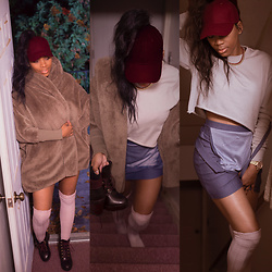 Kiera Cox - Boohoo Overall, Romwe Coat, Aldo Booties, H&M Crop Sweater - Night out...