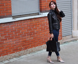 Jelena - Mango Leather Jacket, Zara Dark Wash Jeans, Zac Posen Leather Bag, New Look Pointy Heels - Casual Monday