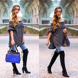 Sasa Zoe - Sweater, Choker, Sunglasses, On Sale Jeans, Otk Boots, Bag - GREY OFF SHOULDER AND THE BEST PRE BLACK FRIDAY SALES