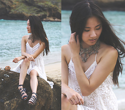 Jennifer Wang - Millianna Handmade Crystal Choker, Bhava Vegan Cork Gladiator Sandals - HANAUMA BAY