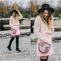 Julie P - Over The Knee Boots, Bag, Skirt, Hat - Blush pink with black accents