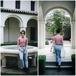 Kiana Mc - American Apparel Top, American Apparel Jeans, Everlane Boots - AA Pink