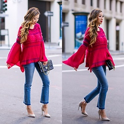 Sasa Zoe - Sweater, Jeans, Pumps, Bag, 25% Off With Code Save25 Earrings - SWAY PONCHO SLEEVES
