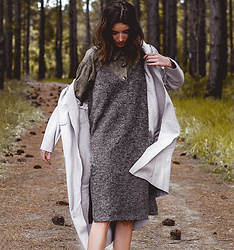 Elle-May Leckenby - Grey V Neck Pinafore, Green Suede Drop Pocket Top, Grey Drop Flow Outer - Autumn