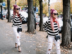 Aika Y - Who What Wear Striped Sweater, Zara White Distressed Jeans, Urban Outfitters Cat Eye Sunglasses, Urban Outfitters Red Bandana, Chanel Vintage Minibag, Asos Black Strappy Sandals - Everyday Chic in The Striped Sweater